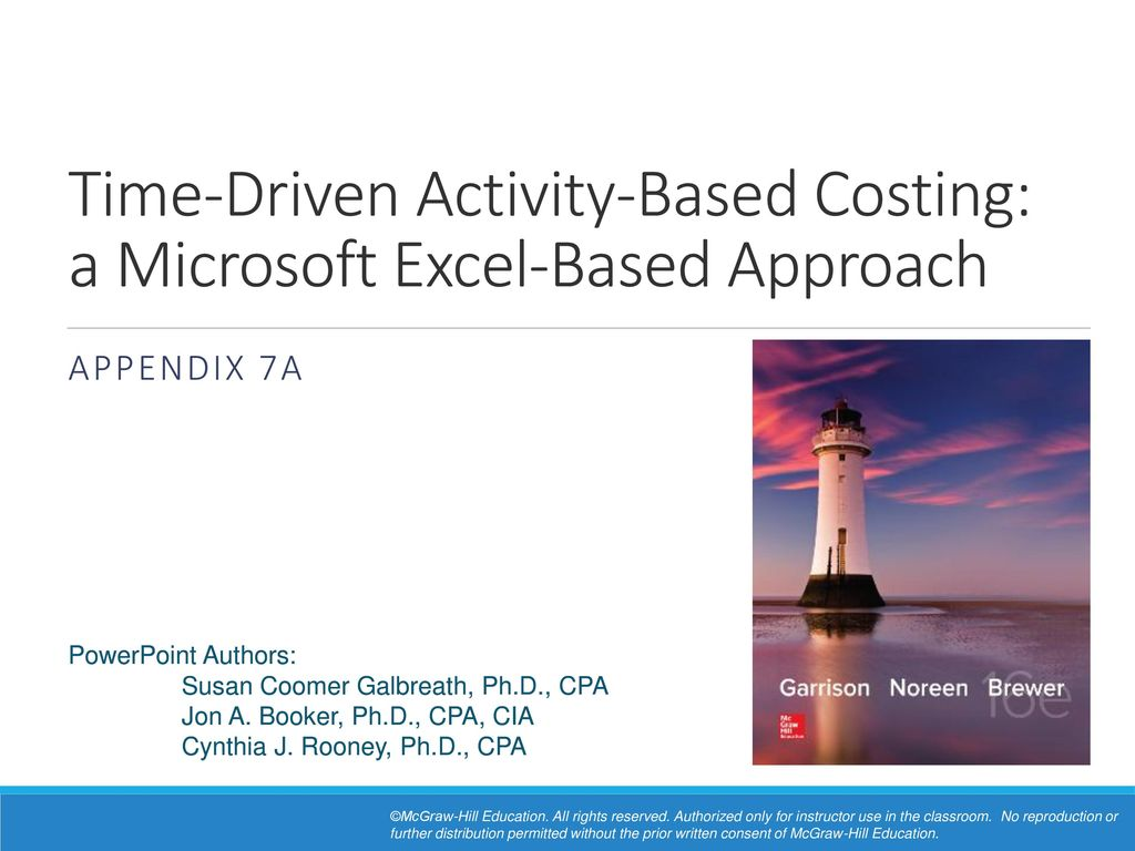 Time Driven Activity Based Costing a Microsoft Excel Based ...