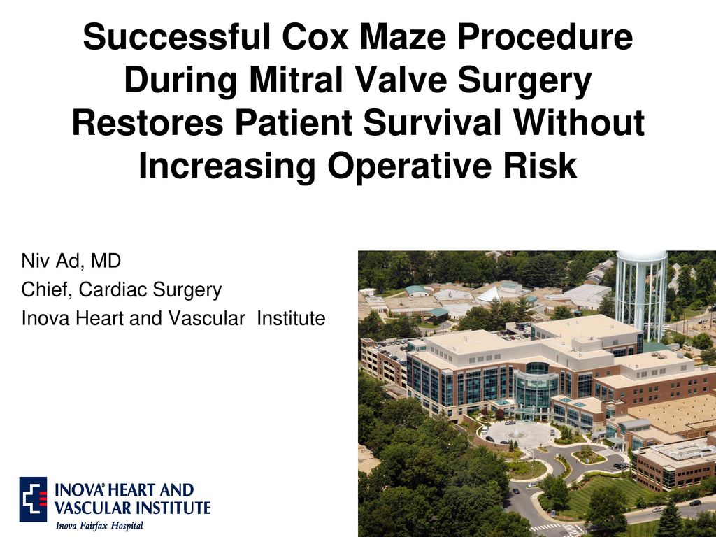 Successful Cox Maze Procedure During Mitral Valve Surgery Restores Patient Survival Without Increasing Operative Risk Niv Ad Md Chief Cardiac Surgery Ppt Download