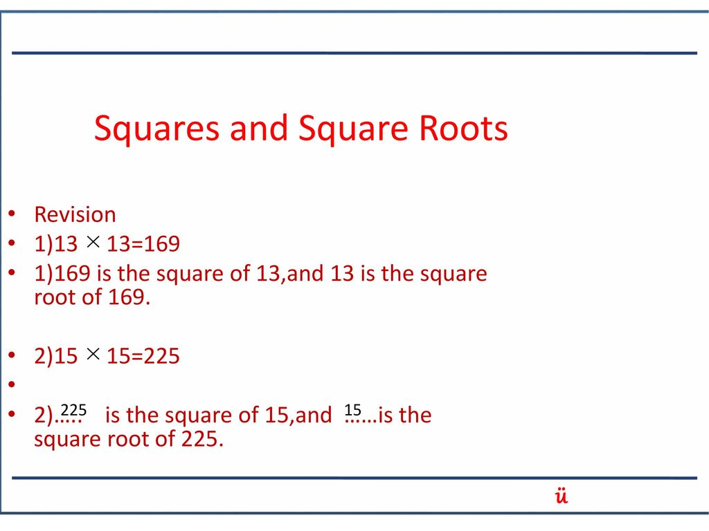 Squares And Square Roots Ppt Download Learn vocabulary, terms and more with flashcards, games and other study tools. squares and square roots ppt download
