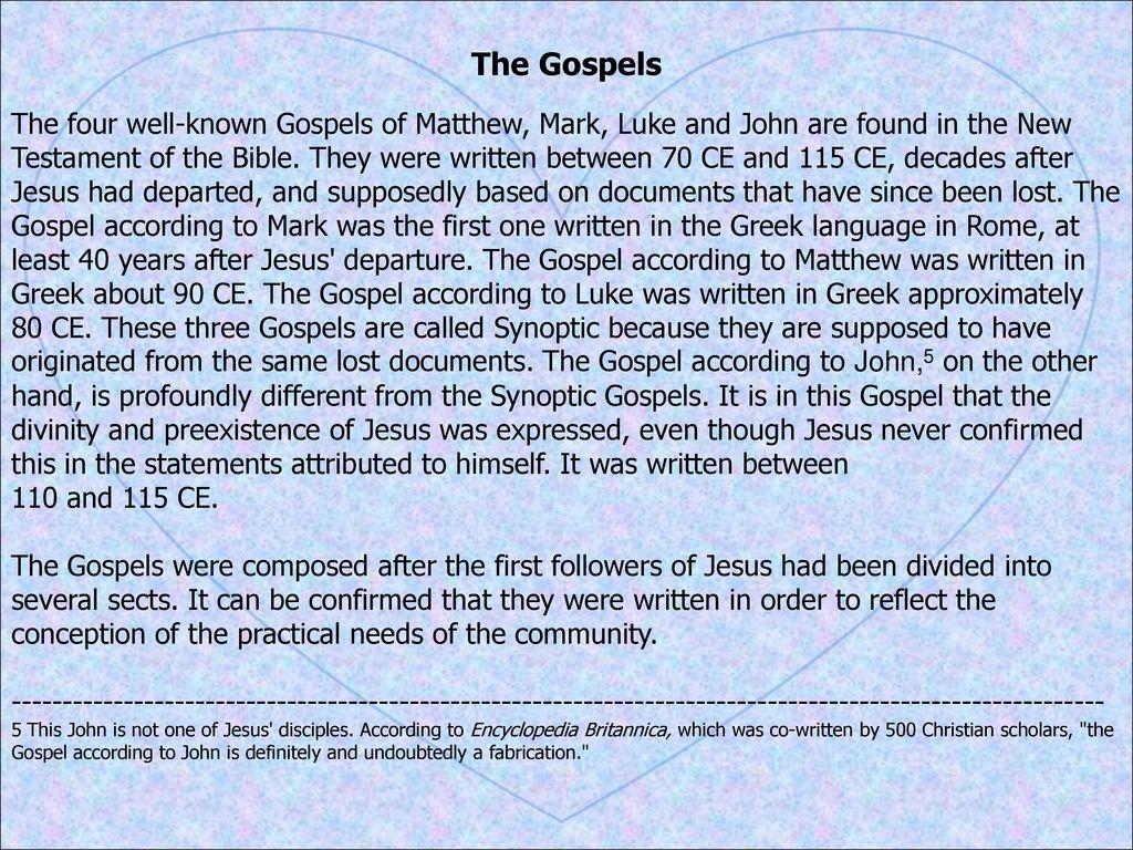 Which written in order gospels Timeline of