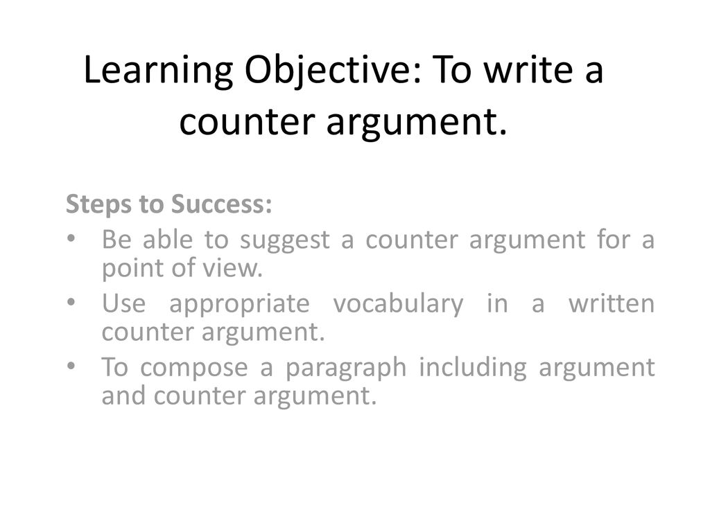 Learning Objective To write a counter argument.   ppt download