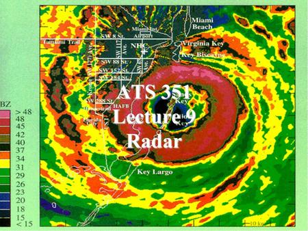 ATS 351 Lecture 9 Radar. Radio Waves Electromagnetic Waves Consist of an electric field and a magnetic field Polarization: describes the orientation.