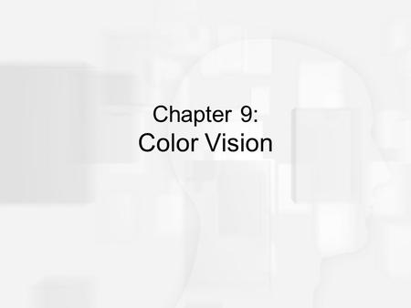 "Chapter 9: Color Vision. Overview of Questions How do we perceive 200 different colors with only three cones? What does someone who is ""color-blind"" see?"