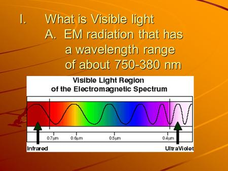 What is Visible light A. EM radiation that has. a wavelength range