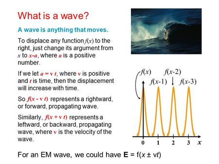 What is a wave? f(x) f(x-3) f(x-2) f(x-1) x