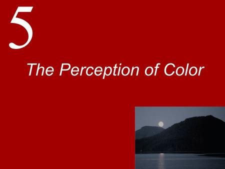 "5 The Perception of Color. Basic Principles of Color Perception Color is not a physical property but a psychophysical property  ""There is no red in a."