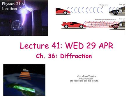 Lecture 41: WED 29 APR Physics 2102 Jonathan Dowling Ch. 36: Diffraction.