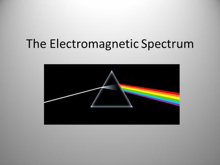 The Electromagnetic Spectrum. Behavior of Light All light travels at the same speed 1.Behaves as a particle (photon) 2.Behaves as a wave: travels through.