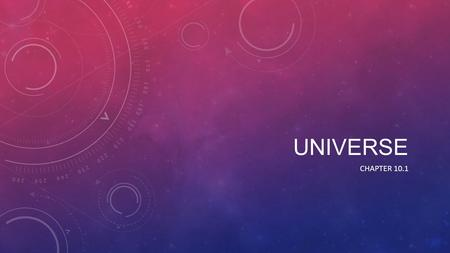 UNIVERSE CHAPTER 10.1. BIG BANG The big bang theory is the main cosmological model for the earliest known time of the Universe. It shows us how the universe.