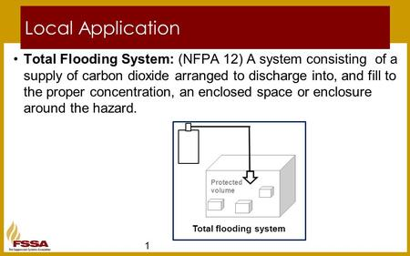 Local Application Total Flooding System: (NFPA 12) A system consisting of a supply of carbon dioxide arranged to discharge into, and fill to the proper.