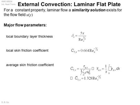 External Convection: Laminar Flat Plate