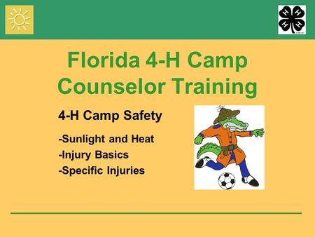 Florida 4-H Camp Counselor Training 4-H Camp Safety -Sunlight and Heat -Injury Basics -Specific Injuries.