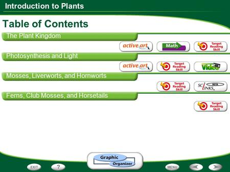 Table of Contents The Plant Kingdom Photosynthesis and Light