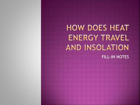 How Does Heat Energy Travel and Insolation