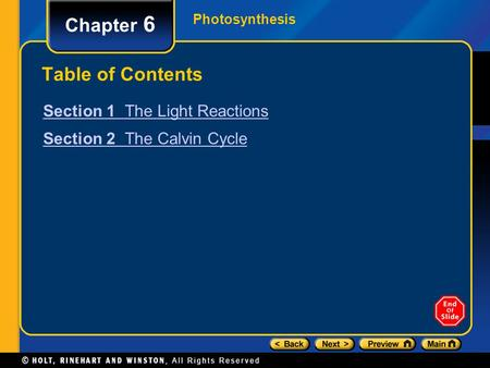 Chapter 6 Table of Contents Section 1 The Light Reactions