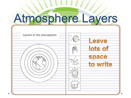 Atmosphere Layers. Layers of the Atmosphere exosph ere 0 to about15 km 15 km to about 50 km 50 km to about 100 km 100 km to about 500 km Above about 500.
