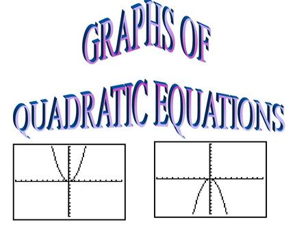 " Quadratic Equation – Equation in the form y=ax 2 + bx + c.  Parabola – The general shape of a quadratic equation. It is in the form of a ""U"" which."