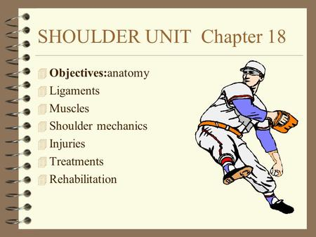 SHOULDER UNIT Chapter 18 4 Objectives:anatomy 4 Ligaments 4 Muscles 4 Shoulder mechanics 4 Injuries 4 Treatments 4 Rehabilitation.