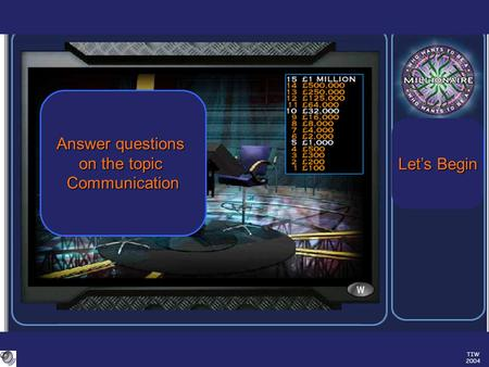 TIW 2004 Answer questions on the topic Communication Let's Begin Let's Begin.