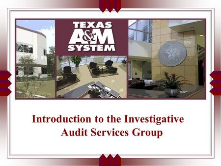 Introduction to the Investigative Audit Services Group.