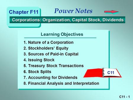 Power Notes Chapter F11 Corporations: Organization, Capital Stock, Dividends Learning Objectives 1. Nature of a Corporation 2. Stockholders' Equity 3.