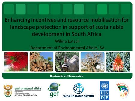 Enhancing incentives and resource mobilisation for landscape protection in support of sustainable development in South Africa Wilma Lutsch Department of.