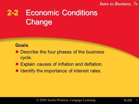 Intro to Business, 7e © 2009 South-Western, Cengage Learning SLIDE1 Economic Conditions Change Goals Describe the four phases of the business cycle. Explain.