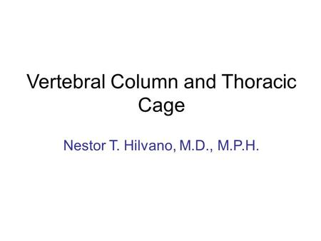 Vertebral Column and Thoracic Cage