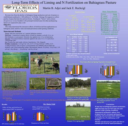Long-Term Effects of Liming and N Fertilization on Bahiagrass Pasture Martin B. Adjei and Jack E. Rechcigl Revenue loss from the decline in bahiagrass.