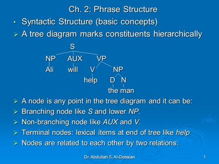Dr. Abdullah S. Al-Dobaian1 Ch. 2: Phrase Structure Syntactic Structure (basic concepts) Syntactic Structure (basic concepts)  A tree diagram marks constituents.