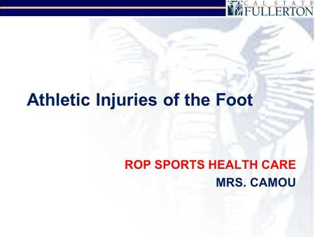 Athletic Injuries of the Foot ROP SPORTS HEALTH CARE MRS. CAMOU.
