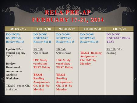 RELA PRE-AP FEBRUARY 17-21, 2014 MON 2/17TUE 2/18WED 2/19THUR 2/20FRI 2/21 DO NOW: KNOWSYS Review #11-15 Update ISN- graded papers, TOC Review Benchmark.