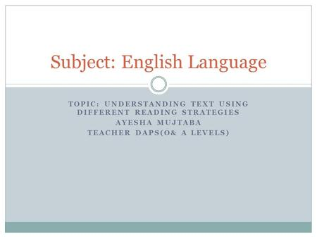 Subject: English Language