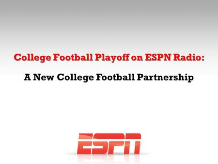 College Football Playoff on ESPN Radio: A New College Football Partnership.