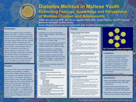 Diabetes Mellitus in Maltese Youth Examining Feelings, Knowledge and Perceptions of Maltese Children and Adolescents Judith Rocchiccioli, PhD., RN, Karen.