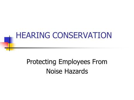 HEARING CONSERVATION Protecting Employees From Noise Hazards.