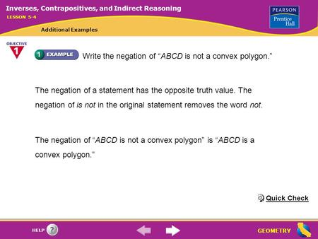 "Write the negation of ""ABCD is not a convex polygon."""