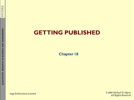 GETTING PUBLISHED Chapter 18.