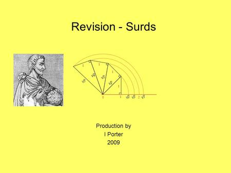 Revision - Surds Production by I Porter 2009 0 1 2 1 1 1 1.