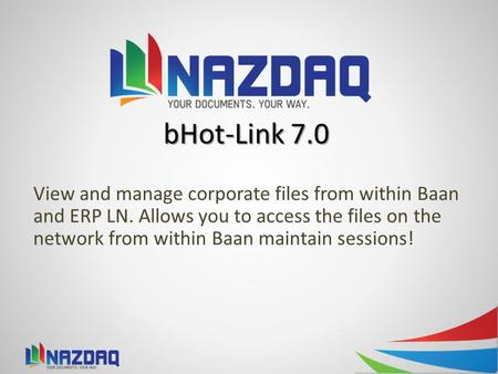 BHot-Link 7.0 View and manage corporate files from within Baan and ERP LN. Allows you to access the files on the network from within Baan maintain sessions!