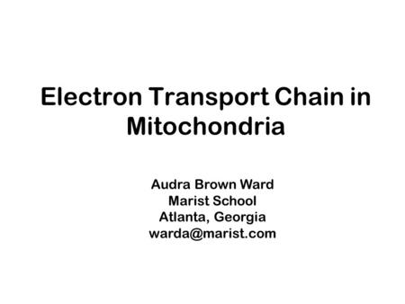 Electron Transport Chain in Mitochondria Audra Brown Ward Marist School Atlanta, Georgia