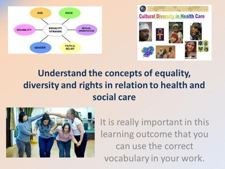 Understand the concepts of equality, diversity and rights in relation to health and social care It is really important in this learning outcome that you.