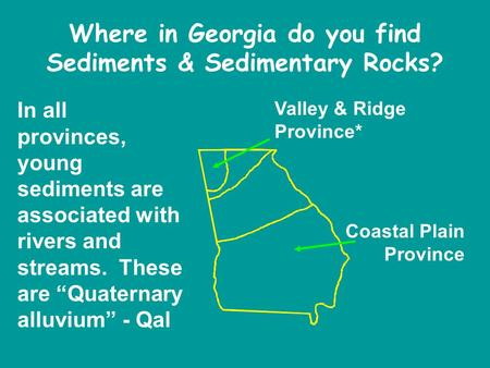 Where in Georgia do you find Sediments & Sedimentary Rocks? Coastal Plain Province Valley & Ridge Province* In all provinces, young sediments are associated.