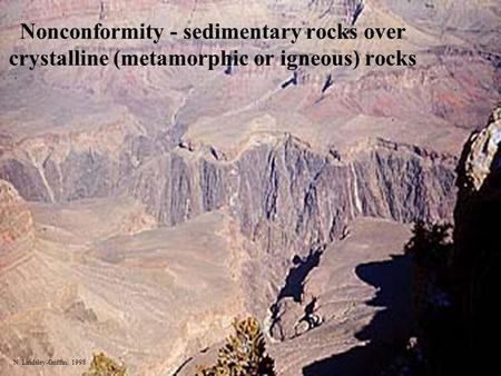 Nonconformity - sedimentary rocks over crystalline (metamorphic or igneous) rocks N. Lindsley-Griffin, 1998.