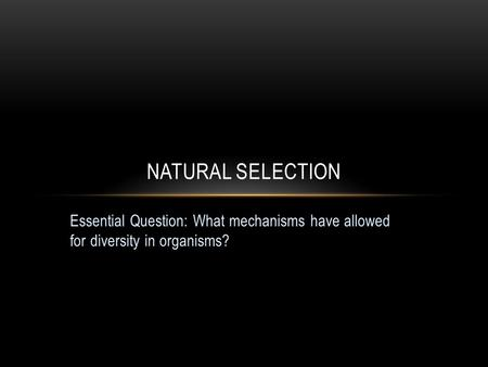 Natural selection Essential Question: What mechanisms have allowed for diversity in organisms?