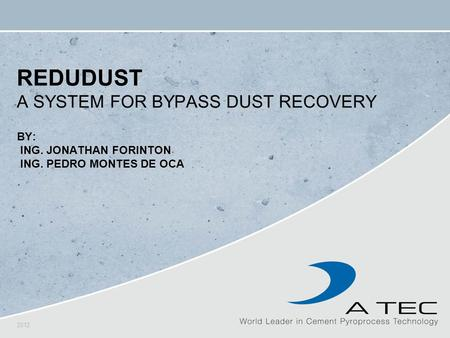 ReduDust A System for Bypass dust recovery By: Ing