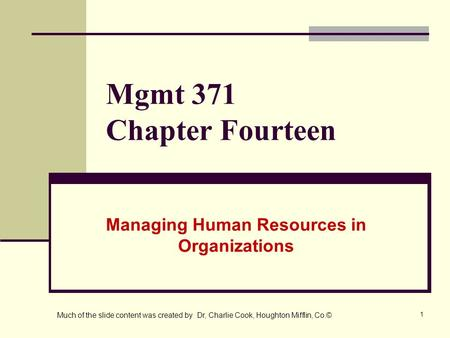 Managing Human Resources in Organizations