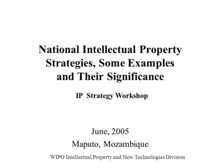 National Intellectual Property Strategies, Some Examples and Their Significance June, 2005 Maputo, Mozambique WIPO Intellectual Property and New Technologies.