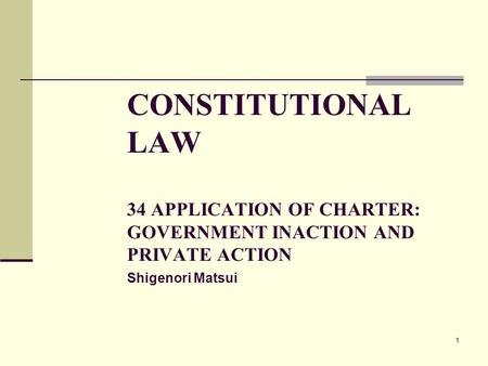 1 CONSTITUTIONAL LAW 34 APPLICATION OF CHARTER: GOVERNMENT INACTION AND PRIVATE ACTION Shigenori Matsui.