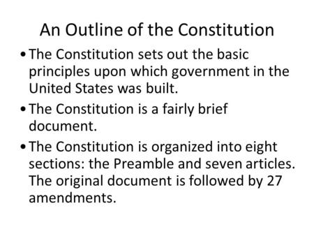 An Outline of the Constitution